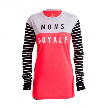 Mons Royale Boyfriend LS wms stripes/pink 16/17
