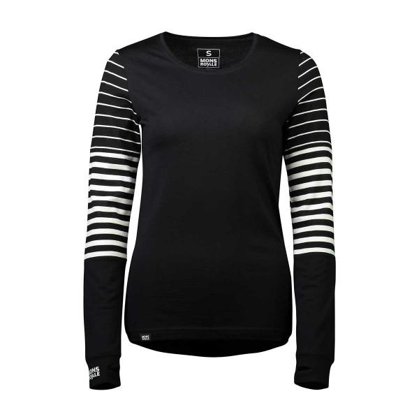 Mons Royale Cornice LS Shirt wms black/thick stripe 19/20