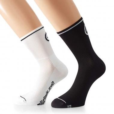 Assos Mille Sock evo7 Doppelpack white/black 2017