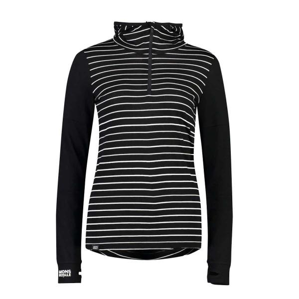 Mons Royale Cornice Hood wms black/thin stripe 19/20