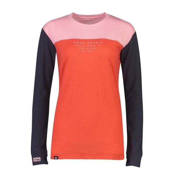 Mons Royale Yotei BF Tech LS Shirt wms 9iron/poppy/rosewat 19/20