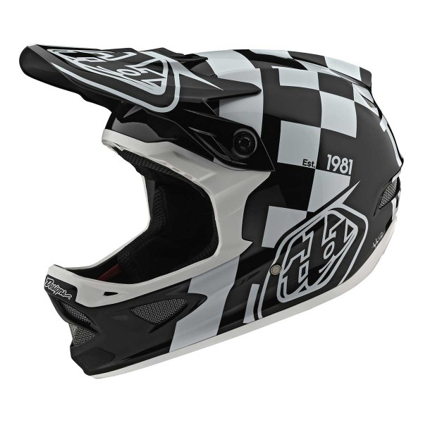 Troy Lee D3 Fiberlite Raceshop white / black 2020