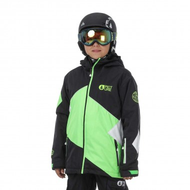 Picture Seattle Jacket kids black/neon green 16/17