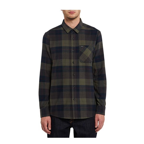 Volcom Caden Plaid LS Tee army green combo 20/21
