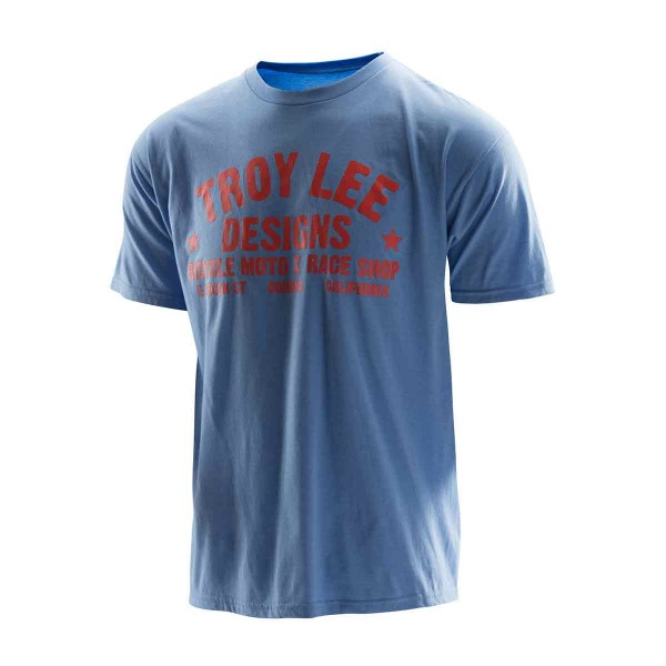 Troy Lee Raceshop Tee heather light blue/orange 2016
