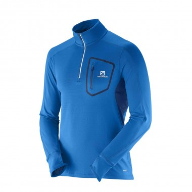 Salomon Trail Runner Warm LS Zip blue 15/16