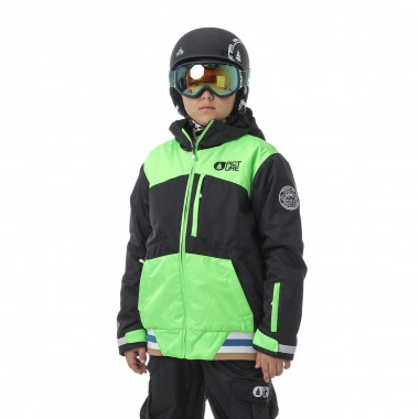 Picture Code Jacket kids black/neo green 16/17